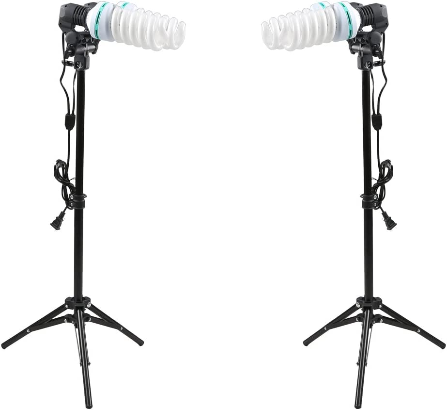 Godox 2X Double Twins Bulb Holders 4X E27 45W 220V Tricolor Bulbs Light Stands for Photography Studio