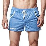 DESMIIT Men's Mesh Pocket Short Bright Blue US Medium Asia XL Waist:33