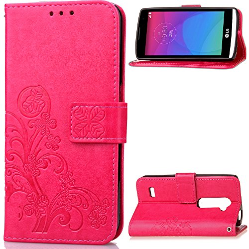 AICEDA LG Leon C40 - Durable Protective Case Women Wallet Style Flip Cover Case For LG Leon C40 ONLY (LG Leon C40 Cover Hot Pink)