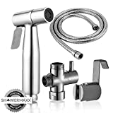 ShowerMaxx | Premium Stainless Steel Cloth Diaper Sprayer - Adjustable Handheld Toilet Bidet Water Cleaner -NEW & IMPROVED NO LEAKAGE Stainless Steel Hose, T-Valve, Tank/Wall Mount & Plumber's Tape