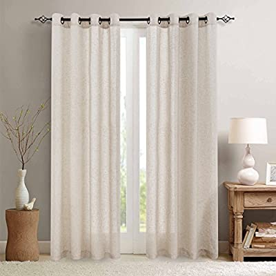 jinchan Linen Textured Curtains for Living Room Grommet Top Window Treatment Set for Bedroom 2 Panels 84 inches Long Crude - 【Package Content】Set contains 2 Panels. W50xL84|panel, W100xL84|pair, Crude. 【Linen Textured】Flax linen blend printed curtains create a natural allure that complements any room. 【Classic Style】Would be the best partner of bedroom, living room, dining room, office, or kitchen. - living-room-soft-furnishings, living-room, draperies-curtains-shades - 51LlqGYU8dL. SS400  -