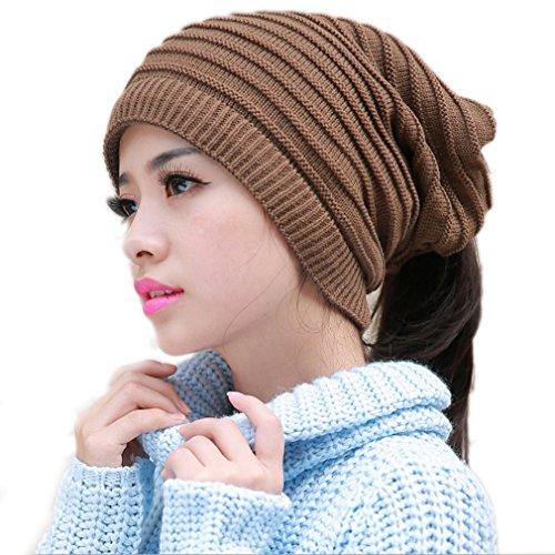 Thenice Women's Winter Multifunction Woolen Cap Knit Hat Scarf (Khaki)