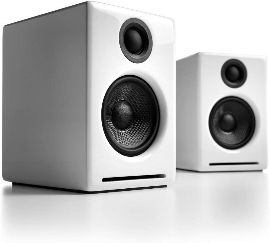 Audioengine A2+ Wireless 60W Powered Desktop Speakers, Bluetooth aptX Codec, Built-in 16Bit DAC and Amplifier (White)