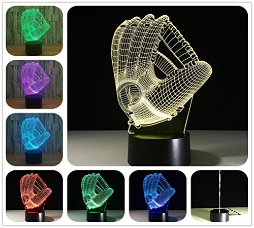 DowBier 3D Illusion Multi Colors USB Sleeping Night Light Desk Lamp Room Decoration (Baseball ()