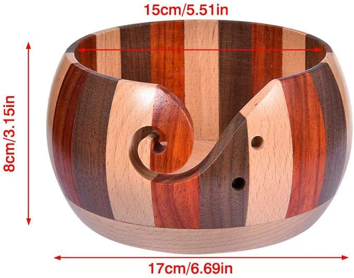 Home Needlework Yarn Holder with Holes Knitting Accessories Wooden Yarn Bowl 5 Styles Handmade Yarn Storage Bowl for Knitting Crochet