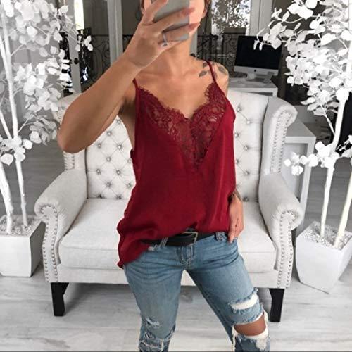 Rosso Lianmengmvp Top Canottiere Eleganti Pizzo Canotta Estive In Donna Sexy Maniche Estivi Maglietta Canotte T Senza shirt Elegante TxRTwPn