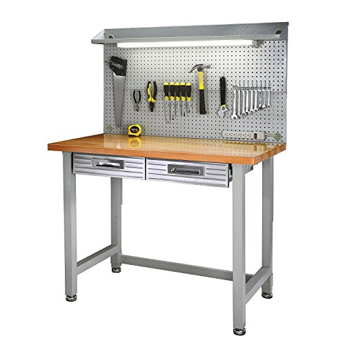 Hardwood Top Workbench Garage Worktable with Integrated Light and Pegboard by StorageLux