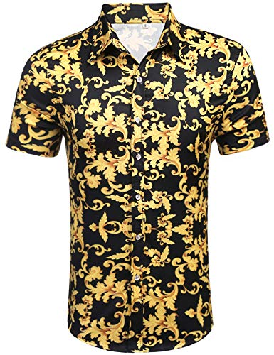 Daupanzees Mens Fashion Short Sleeve Street Wear Designer African Dashiki Luxury Design Print Button Up Casual Shirts (Gold M) ()