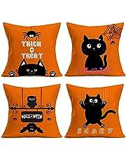Doitely Happy Halloween Orange Throw Pillow Covers Cotton Linen Cute Cartoon Black Cat Decorative Cushion Cover Bat Web Spider Decorative Pillow Cases Home Decor Square 18x18 inches Pillowcases (BC)