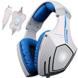 SADES A60 7.1 USB Surround Sound Stereo Over-the-Ear Gaming Headset with Mic Bass, Vibration, Noise-Canceling, Volume Control for PC (White)