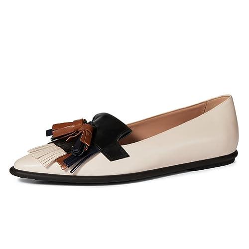 Amazon.com: NJ Mujeres Moda Puntera Borlas Flats Slip on ...