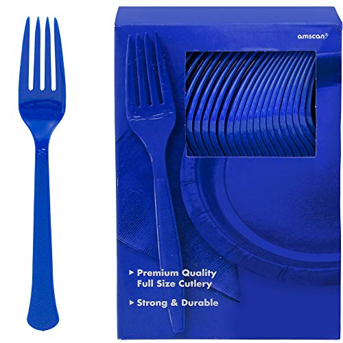 Big Party Pack Plastic Forks | Bright Royal Blue | 100 ct. | Party Supply ()