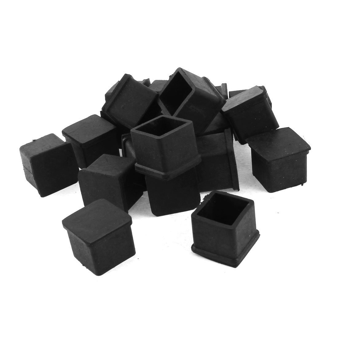 Flyshop Rubber Square Covers Chair Table Leg Pad 30mm x 30mm 20pcs Black