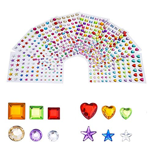 (Antner 704pcs Self-Adhesive Craft Gems Sticky Rhinestones Colored Arts and Crafts Gems, Assorted Size, 8 Sheets)