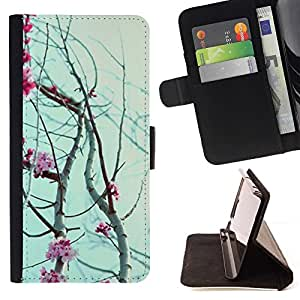 Momo Phone Case / Flip Funda de Cuero Case Cover - Pétalos de las flores cerezo floreciente - Samsung Galaxy Core Prime
