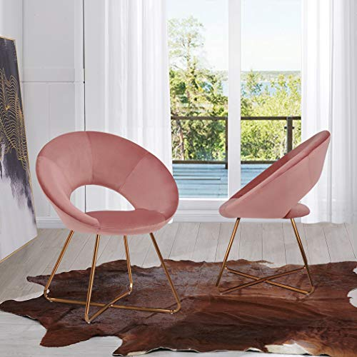 Velvet Dining Chairs for Living Room, Modern Accent Leisure Upholstered Chairs Mid Century, Side Chairs Gold Metal Legs with Wood Pattern, Mid-Back Support Pink Chairs, Set of 2