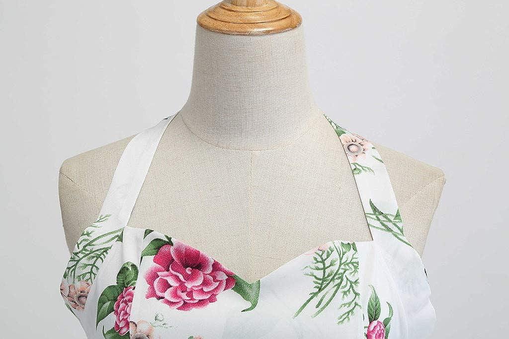 4Clovers Womens Vintage Halter Lace Hem Dress 1950s Floral Sping Retro Rockabilly Cocktail Swing Tea Dresses