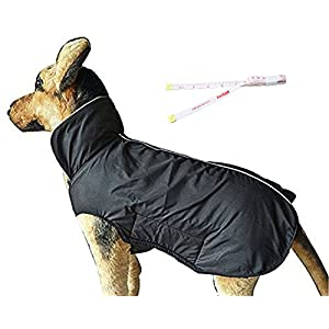PetCee Small Dog Jacket Fleece Lined Jacket Reflective Loft Waterproof Dog Coat Climate Changer Fleece Jacket with a Tape Measure (Black S)