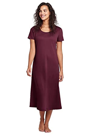17178b841 Lands' End Women's Petite Midcalf Supima Cotton Nightgown, XS, Deep Claret  at Amazon Women's Clothing store: