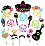 Mexican Fiesta Photo Booth Props. Cinco de Mayo Fiesta Party Supplies Day of The Dead Masks. Kit of 20 Pieces. Dia De Los Muertos - Sugar Skull Fiesta Decorations