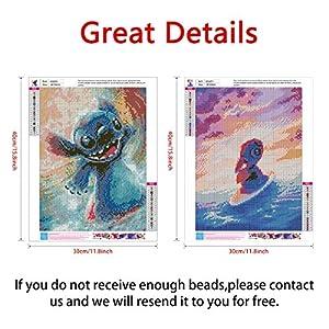2 Pack DIY 5D Diamond Painting Kits,Simliber Full Drill Cartoon Stitch Rhinestone Diamond Painting for Beginner Adults Arts Craft Home Wall Decor, 11.8 X 15.8inch