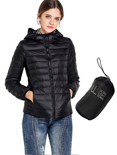Oriental Pearl Women Ultra Light Hooded Down Coat Packable Puffer Padded Jacket,XX-Large,Black