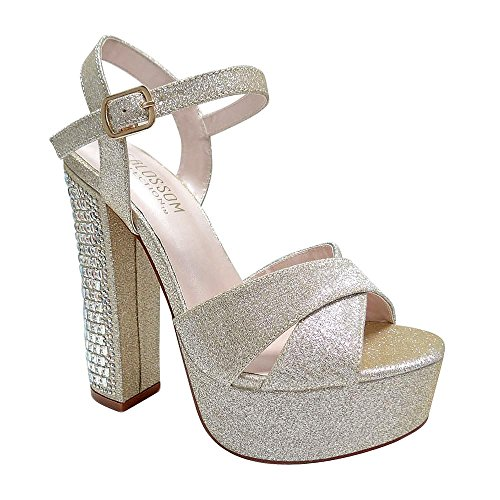 De Blossom Collection Womens Rhinestone Embellished High Block Heeled Platform Sandal Champagne StC6TSTb