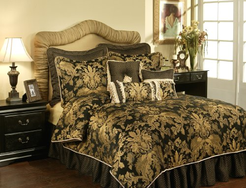 Austin Horn Classics 4-Piece Lismore Bedding Collection, Black, Queen