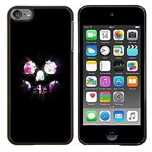 TECHCASE---Cubierta de la caja de protección para la piel dura ** Apple iPod Touch 6 6th Touch6 ** --Cráneo Luces Esqueleto Bling neón Noche