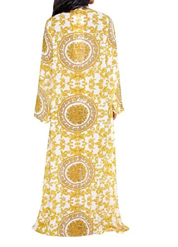 Sexy Taille Bain Couleur Maillot de Impression de Mode divis L XIAOXAIO Manteau Jaune 56Rpqx