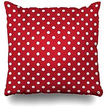 Ahawoso Decorative Throw Pillow Cover Antique Yellow Poka Polka Dots White Red Circle Abstract Polkadot Black Retro Vintage Flower Zippered Design 18