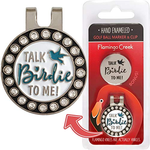 Flamingo Creek Crystal Golf Ball Marker Hat Clip | Fun Talk Birdie to Me Golf Gift Set Women Includes 2 Golf Ball Markers 1 Hat Clip ()