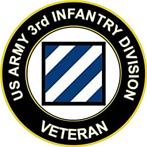 """Six Pack of 3.8"""" US Army 3rd Infantry Division Veteran Decal Sticker"""