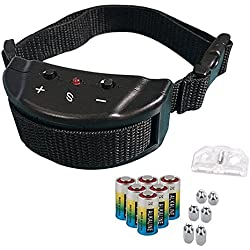 Bark Collar - Adjustable Sensitivity Electric Training Dog Collars Puppy Anti Barking Control Devices For 15-120 Pounds Dogs - Bundled With 6 Alkaline Batteries(1 Pack, Black)