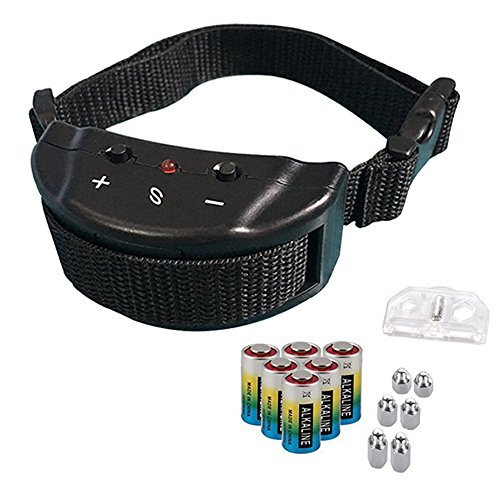 Bark Collar – Adjustable Sensitivity Electric Training Dog Collars Puppy Anti Barking Control Devices For 15-120 Pounds Dogs – Bundled With 6 Alkaline Batteries(1 Pack, Black)