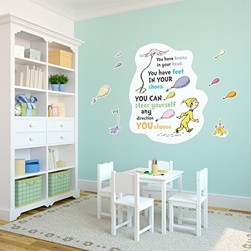 BirthdayExpress Dr. Seuss Oh The Places You'll Go Graduation Party Supplies Giant Wall Decal ()