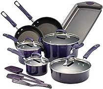 Rachael Ray Hard Porcelain Enamel Nonstick Cookware Set, 14-Piece, Purple Gradient