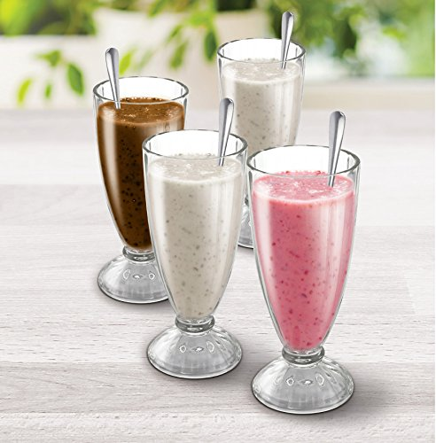 KOVOT Set Of 4 Old Fashioned Soda Glasses And Spoons - (4) 13-Ounce Classic Ice Cream Soda Glasses & (4) Metal - Float Glass