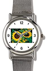 Two Sunflower Flowers Photo - WATCHBUDDY® ELITE Chrome-Plated Metal Alloy Watch with Metal Mesh Strap - Small ( Children's Size - Boy's Size & Girl's Size )