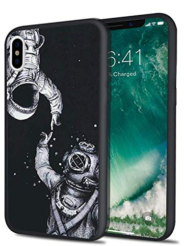 - MAYCARI Space Astronaut Pattern Print Design Black Cover Hard PC Back Case with Protective Shock Proof TPU Bumper Case Cover for iPhone XR