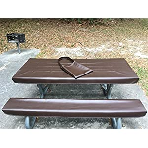 Table Glove Fitted Marine Grade Vinyl Picnic Tablecloth Sets -Picnic Table Cloth Cover - Hand Made - Great For Camping or Full time RV Living (6ft, Rootbeer)