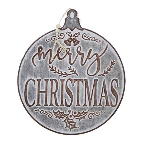 RAZ Imports Merry Christmas Ornament Galvanized Sign - 14.5 Inch ()
