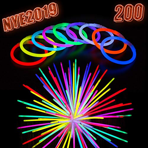 (Glow Sticks Bulk Party Supplies - 200 Light Stick Bracelets - Extra Bright Glow In The Dark Party Favors - 8