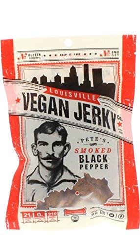 Louisville Vegan Jerky - Smoked Black Pepper, Vegetarian & Vegan Friendly Jerky, 21 Grams of Non-GMO Soy Protein, Gluten-Free Ingredients (3 oz.)