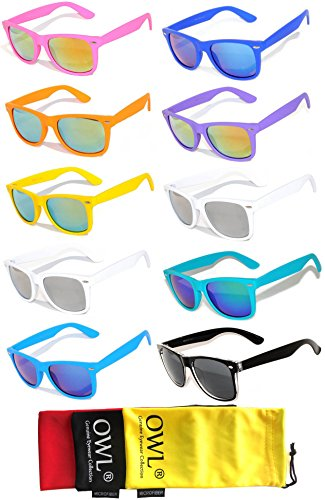 10 pairs Vintage Full Mirror Lens Sunglasses Colored Frame Matte Retro Style (10 pairs, - Framed Sunglasses Pink