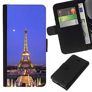 Stuss Case / Funda Carcasa PU de Cuero - Arquitectura Torre Eiffel Luna Noche - LG OPTIMUS L90