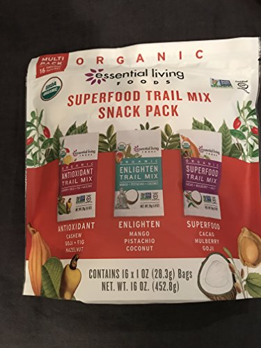 Essential living foods Superfood Trail Mix Snack Pack - 16-1 oz snack packs assorted Antioxidant, Enlighten and Superfood varieties PERFECT FOR LUNCHES AND WORKOUTS