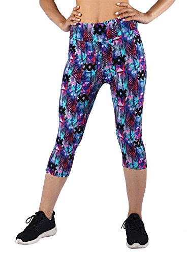 Manstore Women's Printed Active Workout Capri Leggings Fitted Stretch Tights C34 L/XL ()