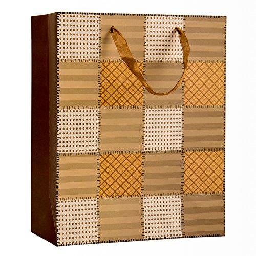 Intricate Designed Soft Caramel Checkered Quilt Print Medium Gift Bag's 12.5