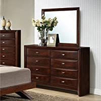Roundhill Furniture Emily 111 Contemporary Solid Wood Construction Dresser and Mirror, King, Merlot